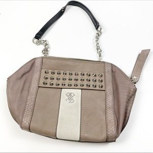 Guess Leather Studded Chain Strap Shoulder Bag